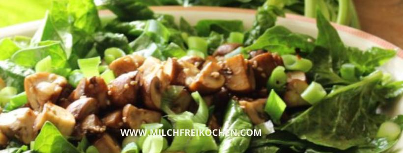 Spinatsalat mit Pilz-Vinaigrette